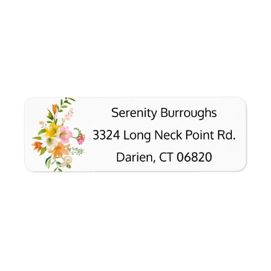 Floral Lily Flowers - Pink, Orange, Yellow Wedding Return Address Label
