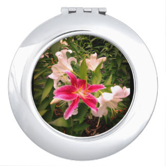 Floral Lily Picture Travel Mirror