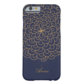 Floral line art Blue and Gold modern iPhone Case