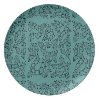 Floral Line Art Design Plates