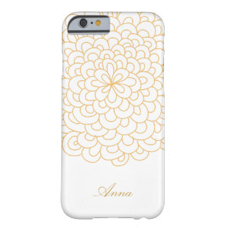 Floral line art White and Gold modern iPhone Case