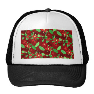 Floral line pattern in red trucker hat