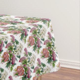 Floral linen tablecloth