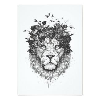 Floral lion (blackandwhite) card