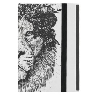 Floral lion (blackandwhite) cover for iPad mini
