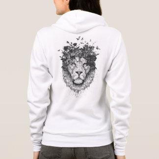 Floral lion (blackandwhite) hoodie