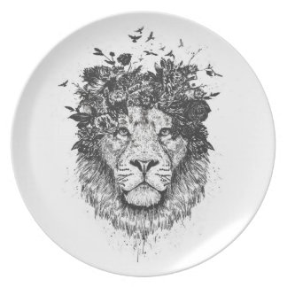 Floral lion (blackandwhite) plate