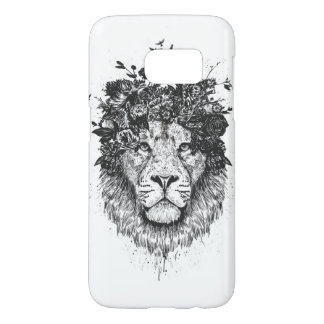 Floral lion (blackandwhite) samsung galaxy s7 case