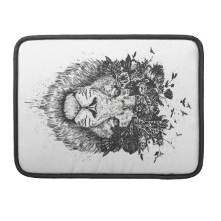 Floral lion (blackandwhite) sleeve for MacBooks