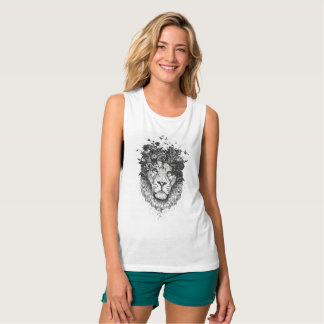 Floral lion (blackandwhite) tank top