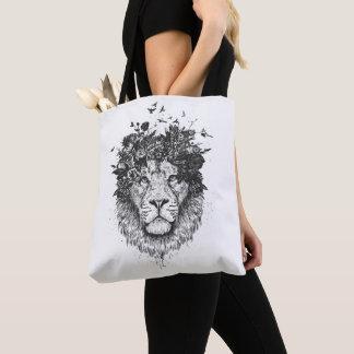 Floral lion (blackandwhite) tote bag