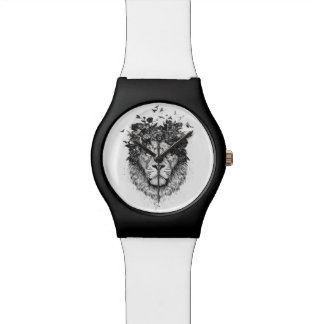 Floral lion (blackandwhite) watch