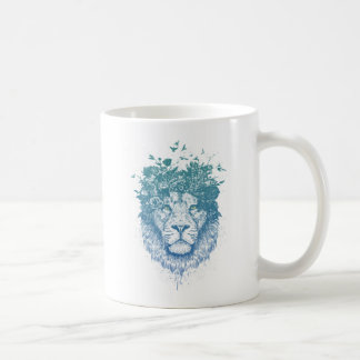 Floral lion coffee mug