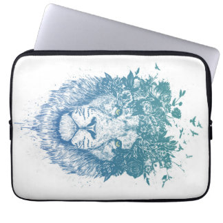 Floral lion laptop sleeve