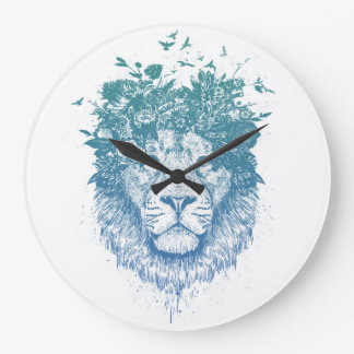 Floral lion large clock