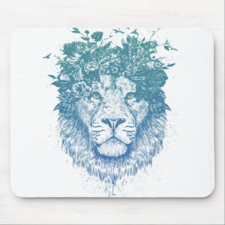 Floral lion mouse pad