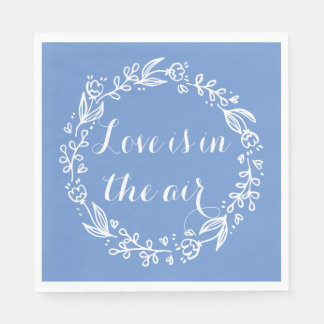 Floral Love Blue Cornflower Flowers Wreath Paper Napkin