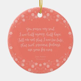 Floral Love Letter Quote Persuasion Jane Austen Ceramic Ornament