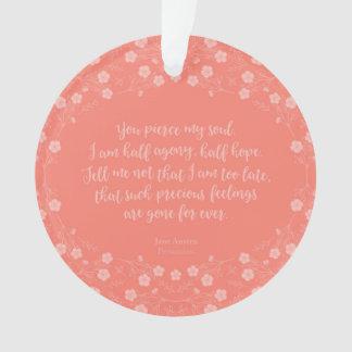 Floral Love Letter Quote Persuasion Jane Austen Ornament