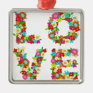 floral love metal ornament