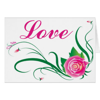 Floral Love Pink Fuchsia Rose Flower - verse Card