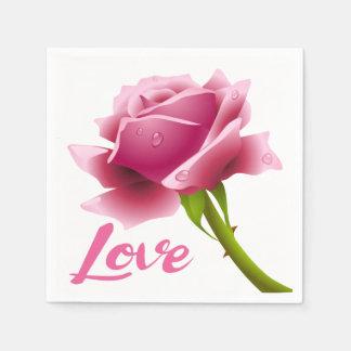 Floral Love Pink Rose Flower Disposable Napkins