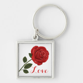 Floral Love Red Rose Flower Keychain