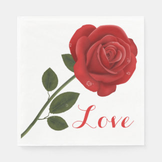 Floral Love Red Rose Flower - Wedding Party Paper Napkin