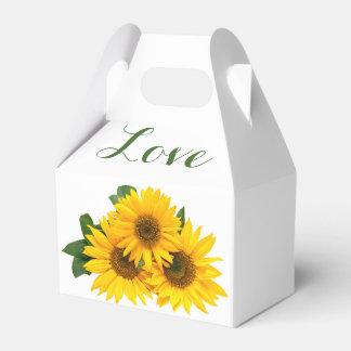 Floral Love Sunflowers Yellow & Green Wedding Favor Box