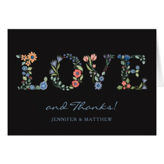 Floral LOVE Thank You Note Black Card