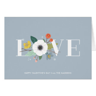 Floral Love Valentine's Day Card - Dusty Blue