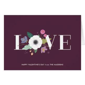 Floral Love Valentine's Day Card - Plum