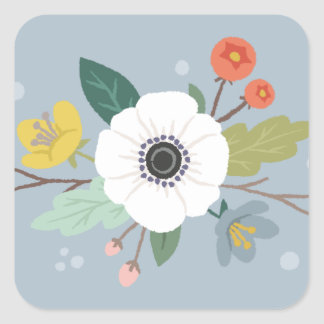 Floral Love Valentine's Day Sticker - Dusty Blue