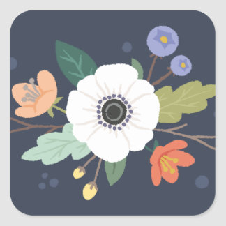 Floral Love Valentine's Day Sticker - Midnight