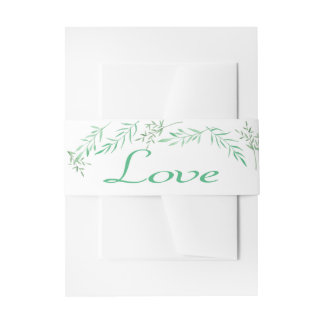 Floral Love Watercolor Laurel Leaf Wedding Party Invitation Belly Band