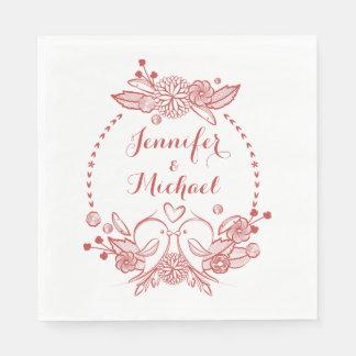 Floral Lovebirds Burgundy Wedding Engagement Love Paper Napkins