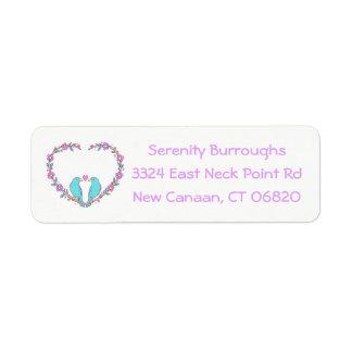 Floral Lovebirds & Heart Purple, Turquoise Wedding Return Address Label