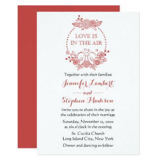 Floral Lovebirds Red Burgundy Wreath Wedding Card