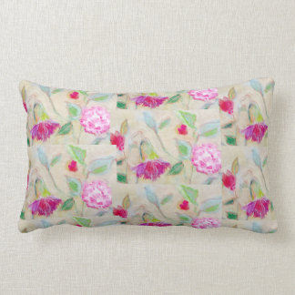 Floral lumbar pillow, pink back lumbar pillow