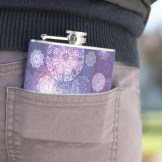 Floral luxury mandala pattern hip flask