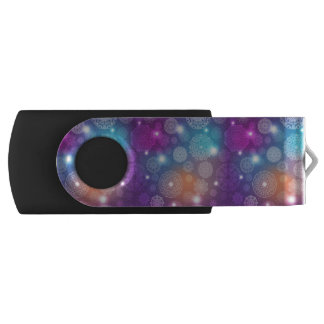 Floral luxury mandala pattern swivel USB 2.0 flash drive