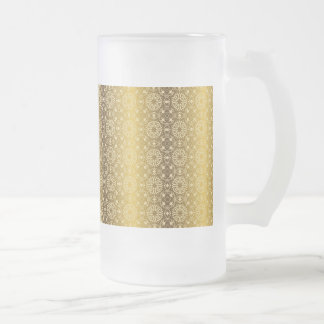 Floral luxury royal antique pattern frosted glass beer mug