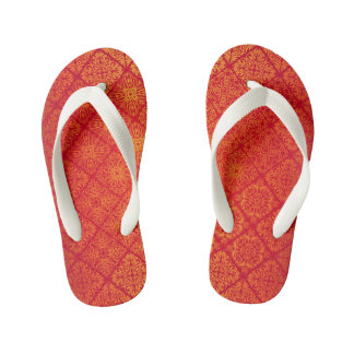 Floral luxury royal antique pattern kid's flip flops