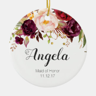 Floral Maid of Honor Christmas Ornament