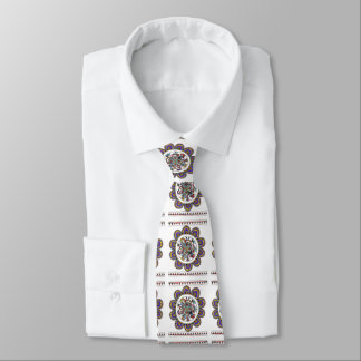 Floral mandal in Madhubani style Tie