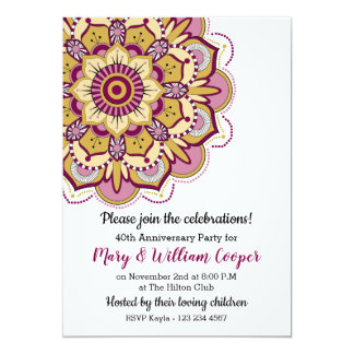 Floral Mandala 40th Wedding Anniversary Card