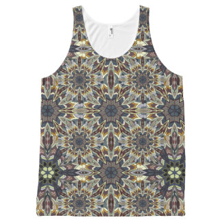Floral mandala abstract pattern design All-Over-Print tank top