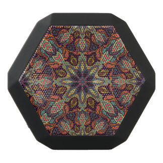 Floral mandala abstract pattern design black bluetooth speaker