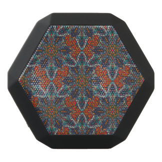 Floral mandala abstract pattern design black bluetooth speaker