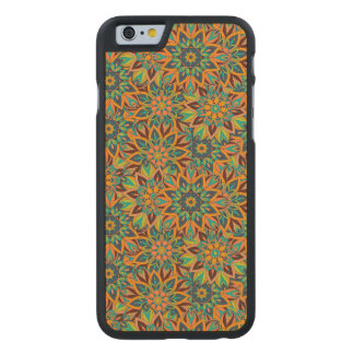 Floral mandala abstract pattern design carved maple iPhone 6 case